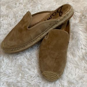 SAM EDELMAN Kerry tan leather espadrille mules